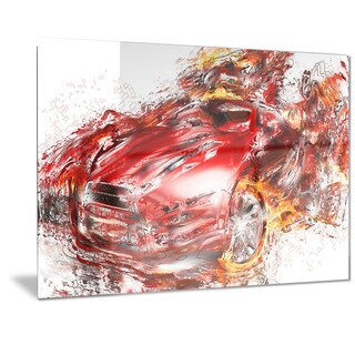 Designart 'Flaming Red Sports Car Metal Wall Art
