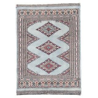 Herat Oriental Pakistani Hand-knotted Bokhara Light Blue/ Ivory Wool Rug (2'1 x 3')