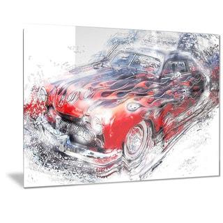 Designart 'American Burn Out Car Art Metal Wall Art