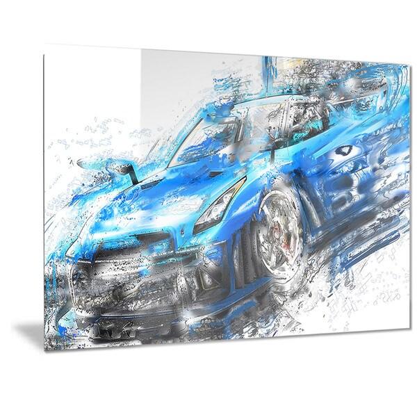 Designart U0026#x27;Burning Rubber Blue Super Car Metal ...