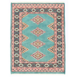 Herat Oriental Pakistani Hand-knotted Bokhara Light Blue/ Salmon Wool Rug (2'1 x 2'9)