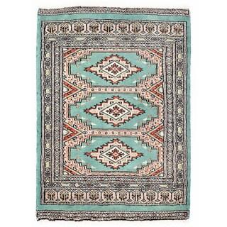 Herat Oriental Pakistani Hand-knotted Bokhara Green/ Ivory Wool Rug (2'2 x 2'11)