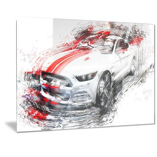 Designart White & Red Sports Car Metal Wall Art