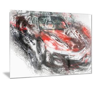 Designart Black and Red Sports Car Metal Wall Art