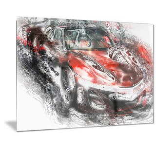 Designart Black and Red Sports Car Metal Wall Art