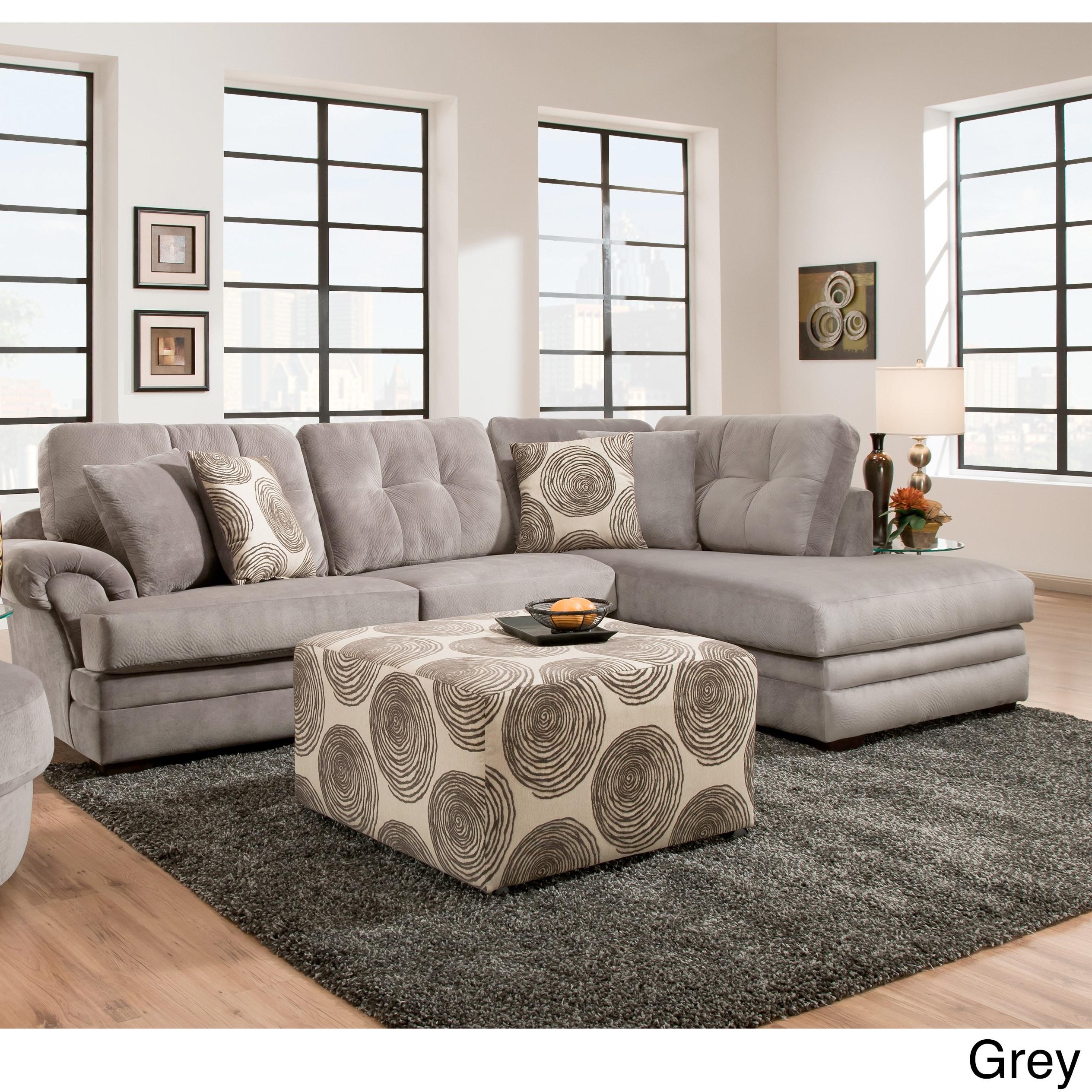 Sofa Trendz Plush Grey and Brown Velvet Sectional (Grey) ...