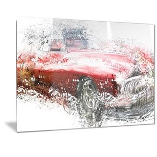 Designart Red Classic Luxury Car Metal Wall Art