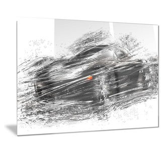 Designart Black Sports Car Metal Wall Art