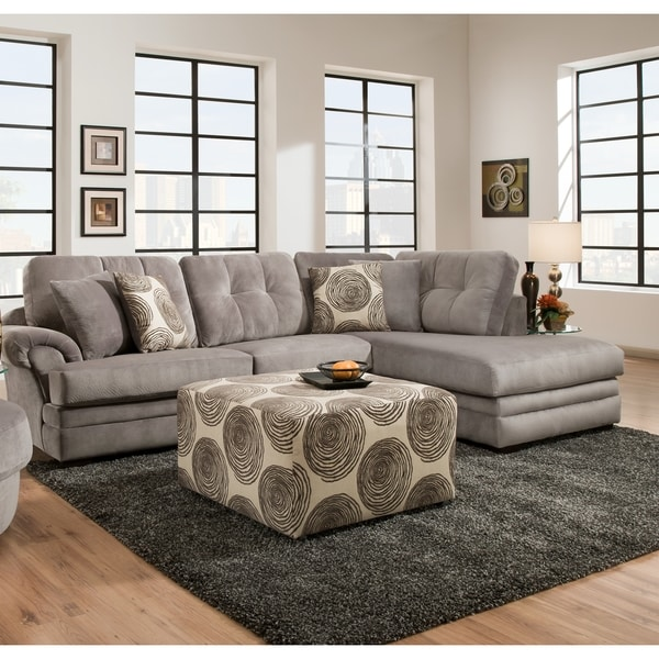 Sofa trendz plush grey brown sectional accent ottoman for Plush living room furniture
