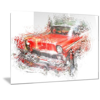 Designart Orange Classic Car Metal Wall Art