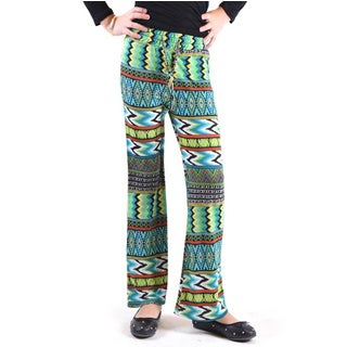 Dinamit Girls' Multi-colored Polyester/Spandex Wrinkle-resistant Printed Jersey Palazzo Pants