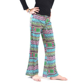 Dinamit Girls' Women's Golden Black Girls' Multicolor Polyester Spandex Wrinkle Resistant Printed Jersey Palazzo Pants