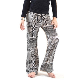 Girl's Printed Golden Multicolor Polyester and Spandex Jersey Drawstring Palazzo Pants