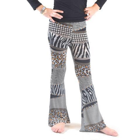 Girls' Multicolor Animal-print Polyester/Spandex Bell-bottom Pants