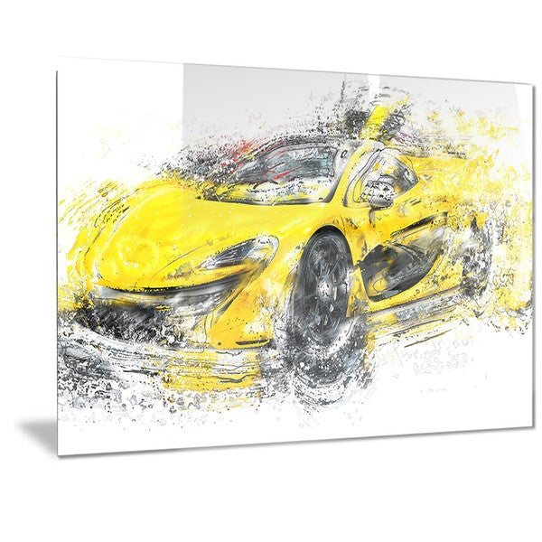 Designart Yellow Exotic Car Metal Wall Art - Free Shipping Today ...