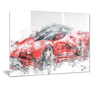 Designart Sleek Red Sports Car Metal Wall Art