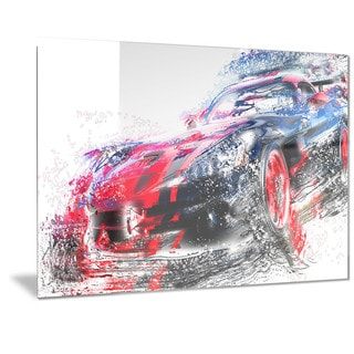 Designart Red and Black Sports Car Metal Wall Art