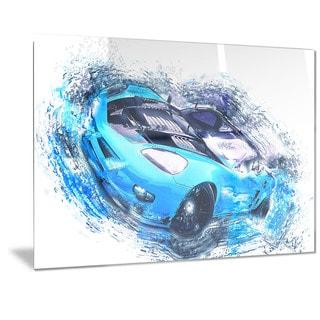 Designart Sky Blue and Black Sports Car Metal Wall Art