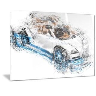Designart White and Blue Convertible Metal Wall Art