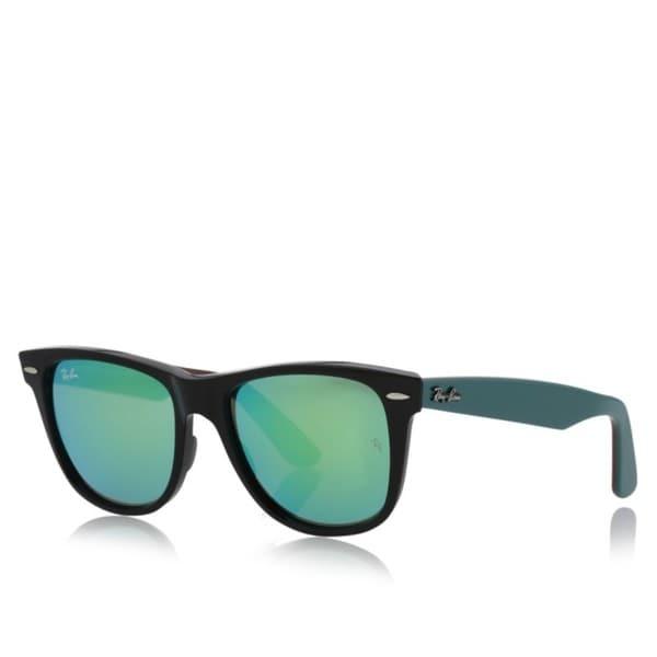 Ray Ban Wayfarer Rb2140 Unisex Black Green Frame Green Mirror Lens