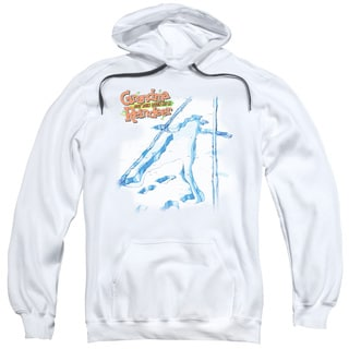 Grandma Got Run Over By A Reindeer/Grandma Was Here Adult Pull-Over Hoodie in White