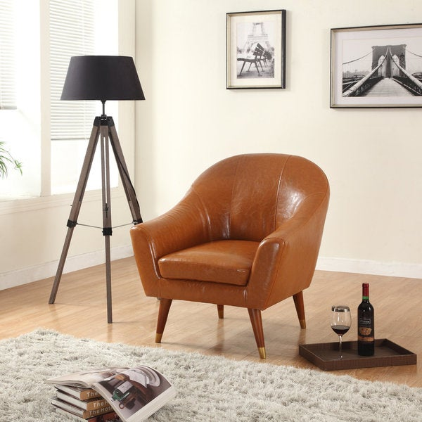 Madison Home Signature Collection Mid Century Modern Bonded Leather Accent  Chair