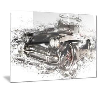 Designart Black Convertible Roadster Metal Wall Art