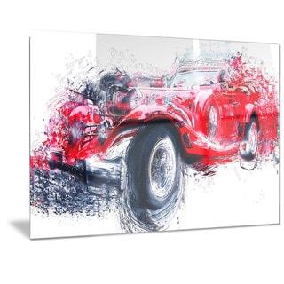 Designart Red Vintage Classic Car Metal Wall Art