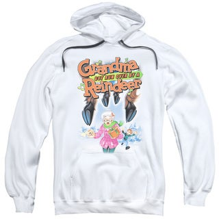 Grandma Got Run Over By A Reindeer/Here They Come Adult Pull-Over Hoodie in White