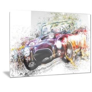 Designart Colorful Abstract Convertible Car Metal Wall Art