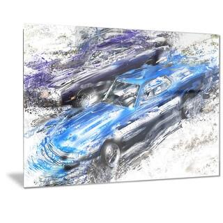 Designart Blue and Purple Muscle Cars Metal Wall Art