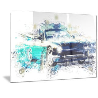 Designart Shades of Blue Car Art Metal Wall Art