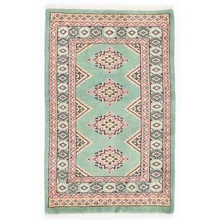 Herat Oriental Pakistani Hand-knotted Bokhara Green/ Salmon Wool Rug (2' x 3'3)