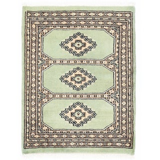 Herat Oriental Pakistani Hand-knotted Bokhara Green/ Beige Wool Rug (2'2 x 2'10)