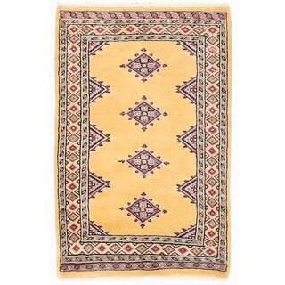 Herat Oriental Pakistani Hand-knotted Bokhara Gold/ Salmon Wool Rug (2'1 x 3'3)