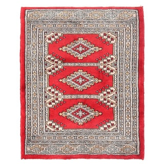 Herat Oriental Pakistani Hand-knotted Bokhara Red/ Ivory Wool Rug (2'2 x 2'8)
