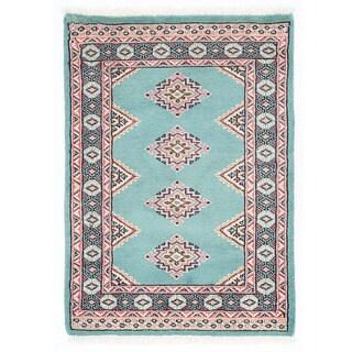 Herat Oriental Pakistani Hand-knotted Bokhara Light Blue/ Ivory Wool Rug (2'1 x 2'11)
