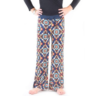 Golden Black Big Girl's Muli-color Polyester Spandex Printed Jersey Drawstring Pants