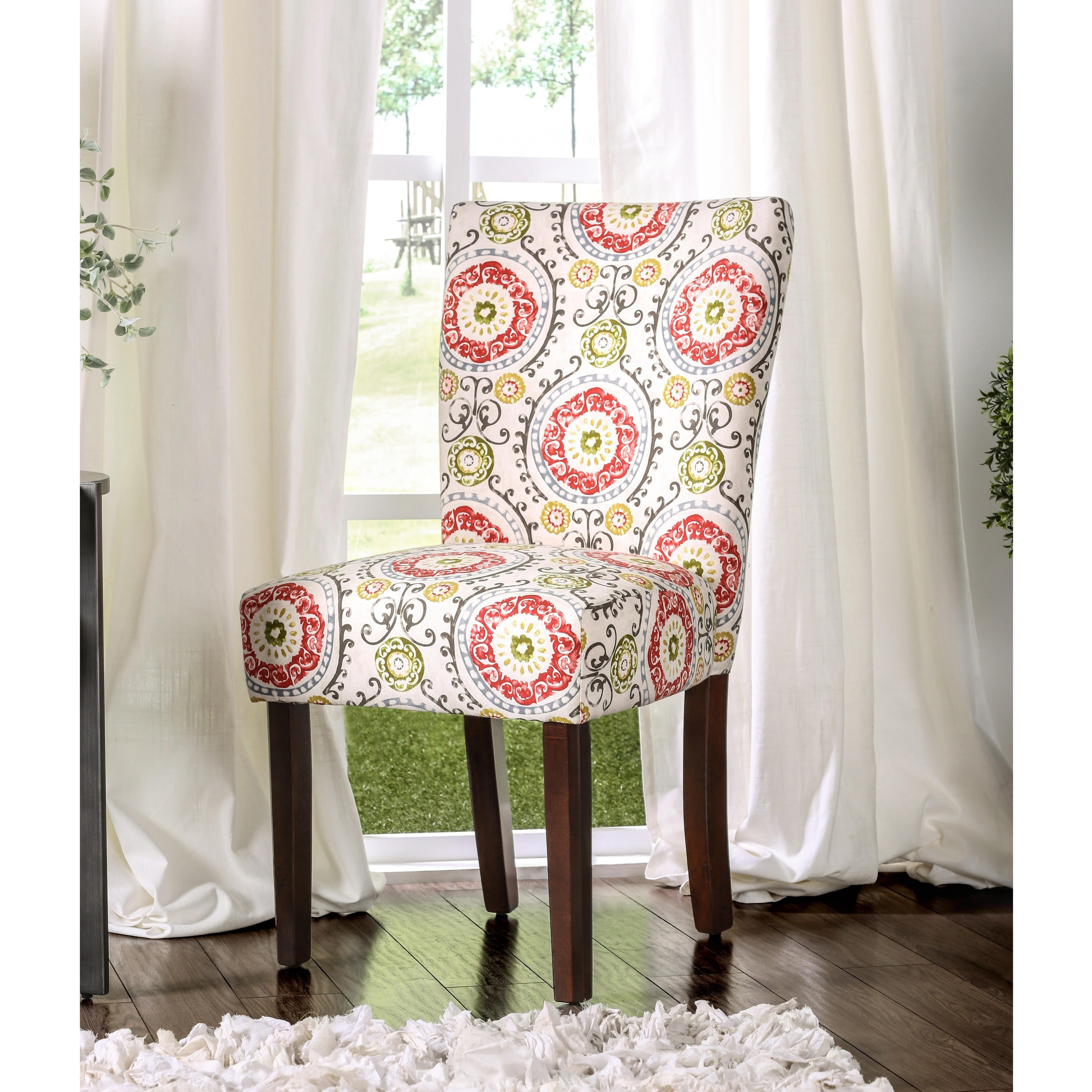 Patterned Parson-style Upholstered Side Chair (Set of 2) ...
