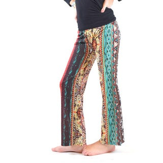 Girls' Mutlticolored Printed Jersey Palazzo Pants
