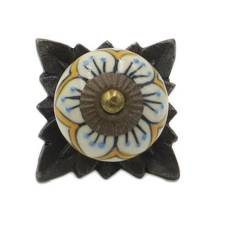 Blue Flower Mustard-colored Knobs and Back Plates (Pack of 6)