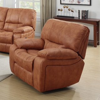 Silverado Modern Printed Leather and Fabric Reclining Rocking Chair