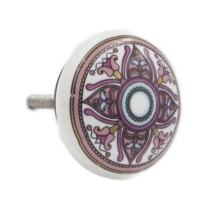 Purple Pattern Ceramic Decorative Drawer Knobs (Pack of 6)