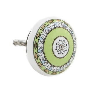 Green Pattern 6-pack Brass Knobs