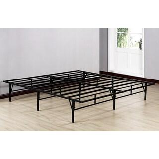 K&B Black Metal 80-inch x 76-inch x 14-inch King-size Platform Bed Frame