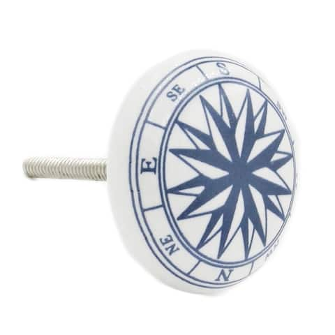 Compass Sea Ocean Ceramic Drawer Knobs (Pack of 6)