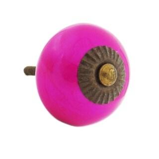 Neon Pink Decorative Ceramic Drawer/ Door/ Cabinet Pull Knob (Pack of 6)