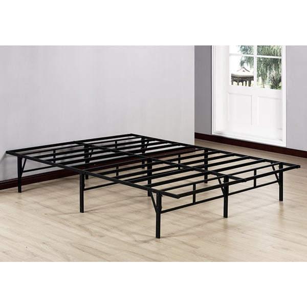 K B Black Metal Queen Size Platform Bed Frame On Free Shipping Today 11863287