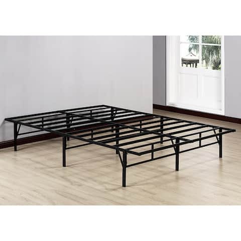 K&B Black Metal Queen-size Platform Bed Frame