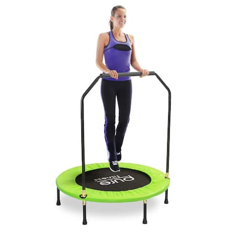 Pure Fitness 40-inch Exercise Mini Trampoline with Handrail